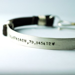 mens bracelet - a personalized leather and silver cuff bracelet for him.