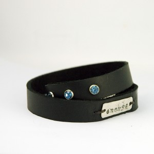leather wrap bracelet with silver hand stamped word