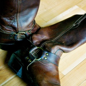 harness boots by Frye