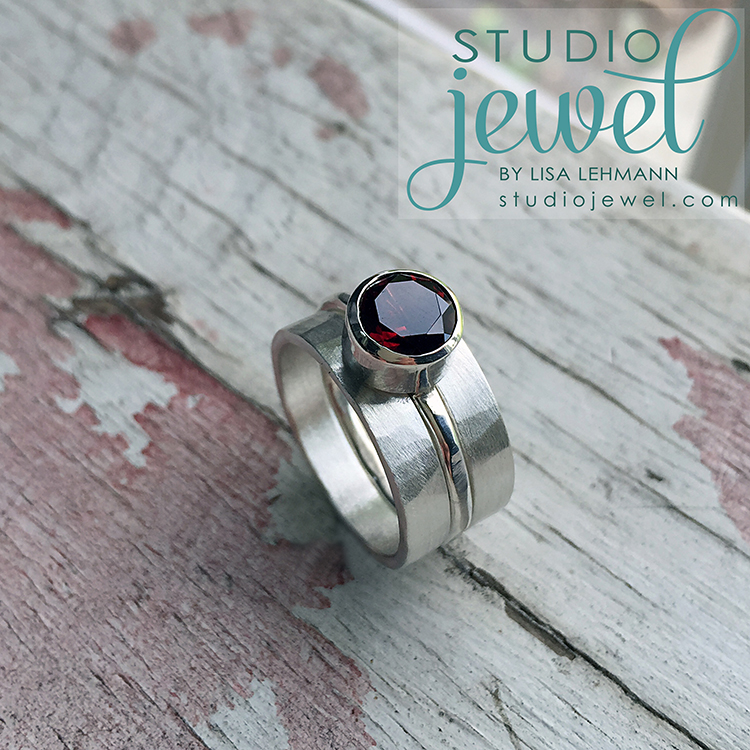 gorgeous handcrafted garnet wedding ring set StudioJewel.com