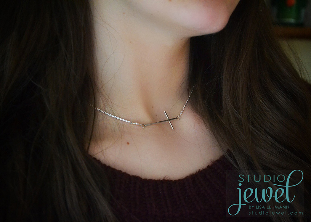 handcrafted sideways cross neckace in sterling silver StudioJewel.com