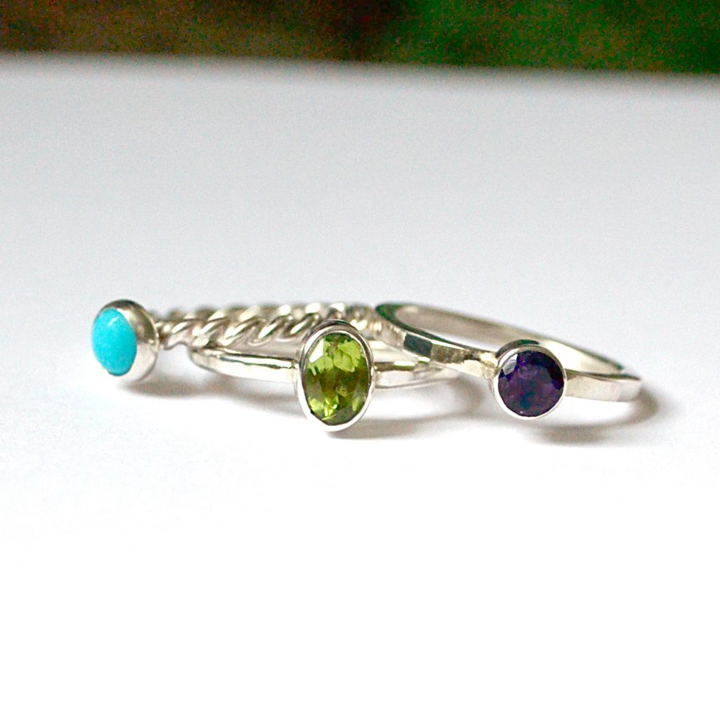 stacking birthstone ring set