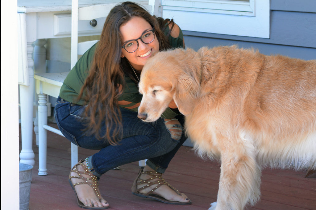teen style along with her golden retriever, puppy love forever!