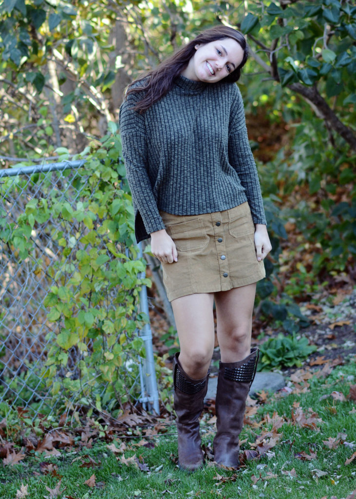 fall cozy fashion skirt and sweater and boots