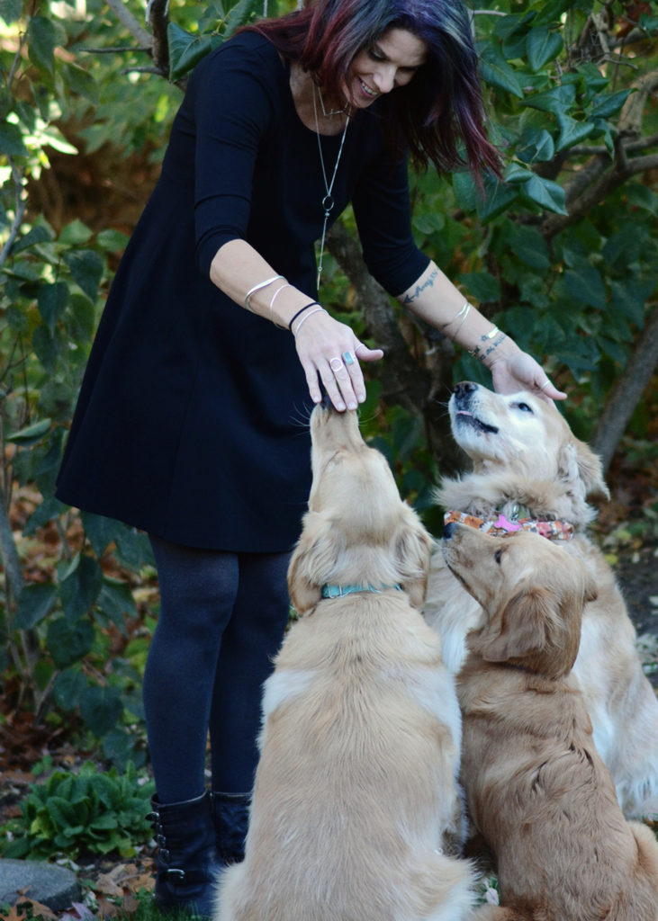 fashion over 40 and the perfect accessory, golden retrievers