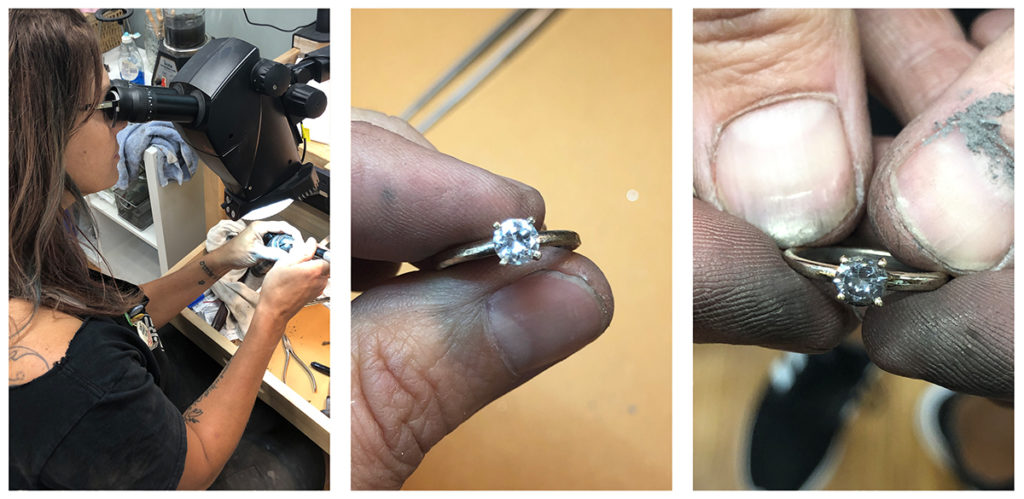 setting a diamond in a 14 karat gold prong setting